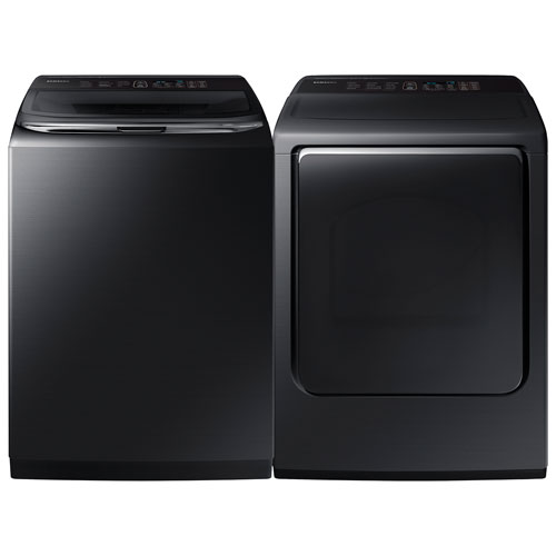 Laveuse à vapeur HE 6,2 pi³ et sécheuse électrique à vapeur 7,4 pi³ de Samsung - Inox noir