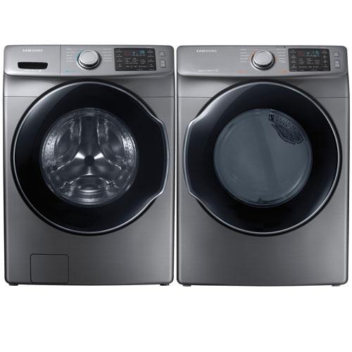 Samsung 5.2 Cu. Ft. HE Front Load Steam Washer & 7.5 Cu. Ft. Electric Steam Dryer - Platinum
