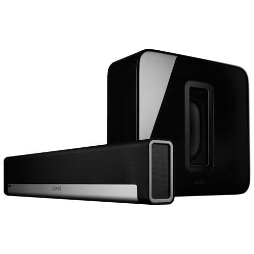 Haut-parleur d'extrêmes graves sans fil SUB et barre de son PLAYBAR de Sonos - Noir