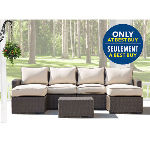 Lioni Tropea 7-Piece Patio Conversation Set - Buckeye Brown/Light Brown - Only at Best Buy