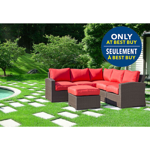 Lioni Tropea 6-Piece Patio Conversation Set - Buckeye Brown/Candy Red - Only at Best Buy