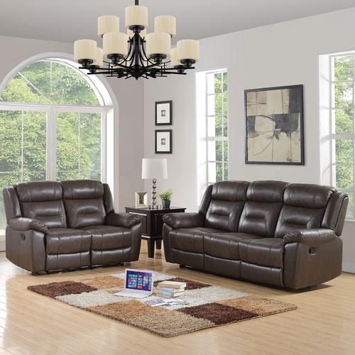 Memphis Contemporary Leather Recliner Sofa U0026 Loveseat Set   Taupe
