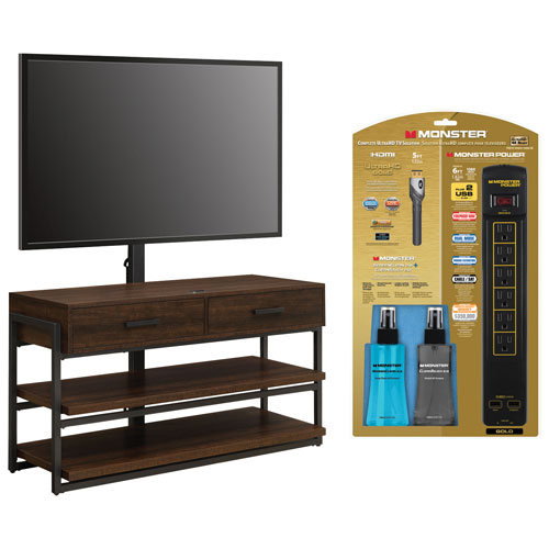 "Whalen 3-in-1 TV Stand with 54"" TV Mount, Monster Power Bar, HDMI Cable & Cleaning Kit - Dark Brown/Gunmetal"