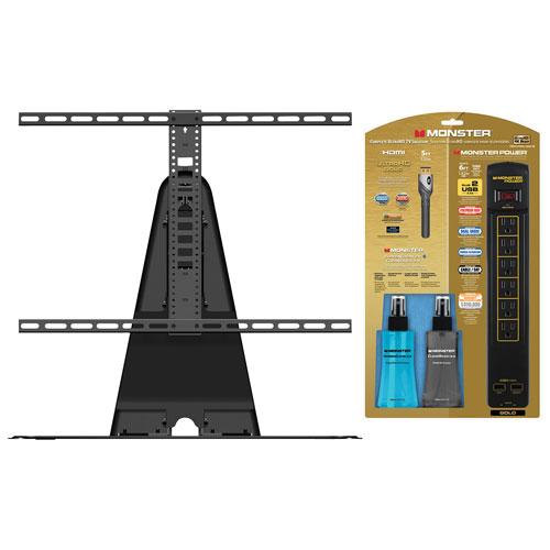 Base pivotante Sanus pour télév. 32-60 po, barre alim. Monster, câble HDMI, trousse nettoyage - Noir