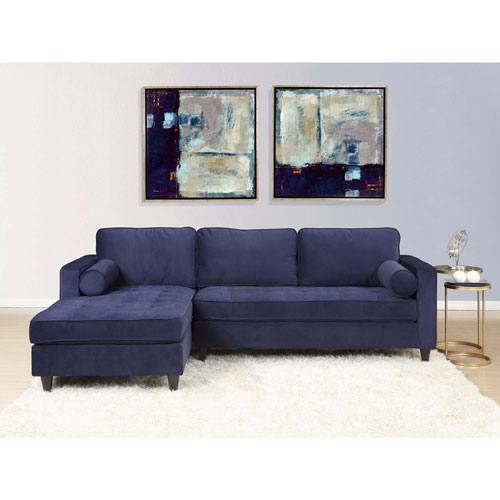 Picket House Bordeaux Tufted Sofa With Chaise Lounge Navy Sofas