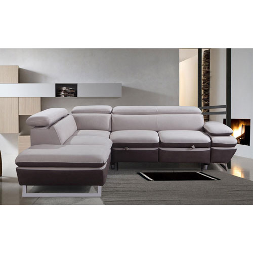 Nina Contemporary 2 Piece Nappa Sectional Sofa with Right Facing