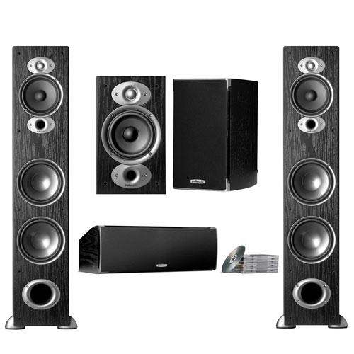 Polk Audio 125-Watt Bookshelf Speakers with Tower Speaker, Subwoofer & Center Channel Speaker- Black