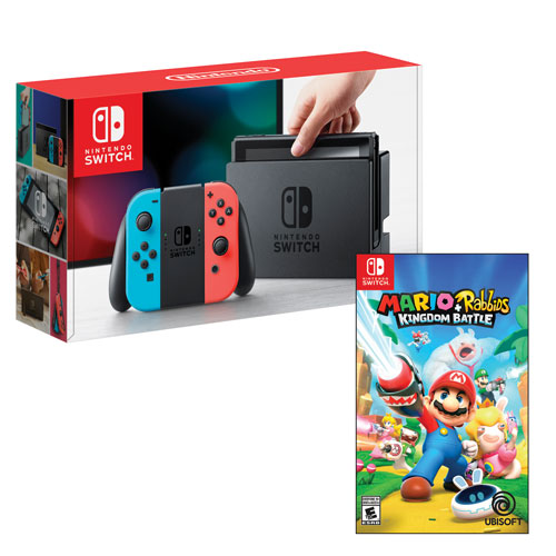 Nintendo Switch Console with Neon Red/Blue Joy-Con & Mario + Rabbids Kingdom Battle (Switch)