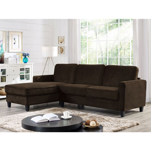 Fontana Transitional Microfibre 2 Piece Sectional Sofa Bed with