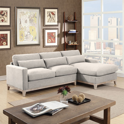 Jasper Modern 2 Piece Sectional Sofa With Right Facing Chaise   Taupe    Online Only
