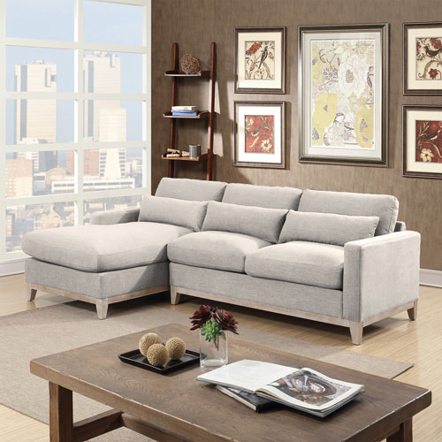Jasper Modern 2 Piece Sectional Sofa With Left Facing Chaise Taupe
