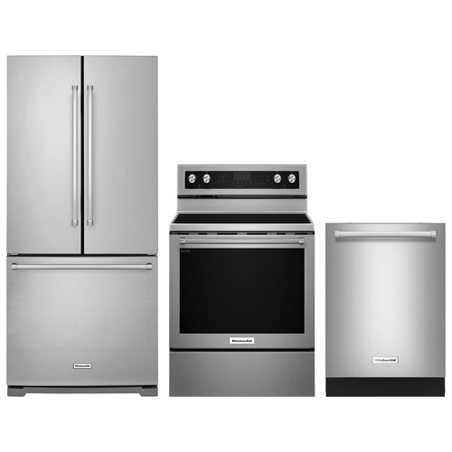 "Kitchenaid Black Stainless Package: KitchenAid 30"" French Door Refrigerator; Electric Range"