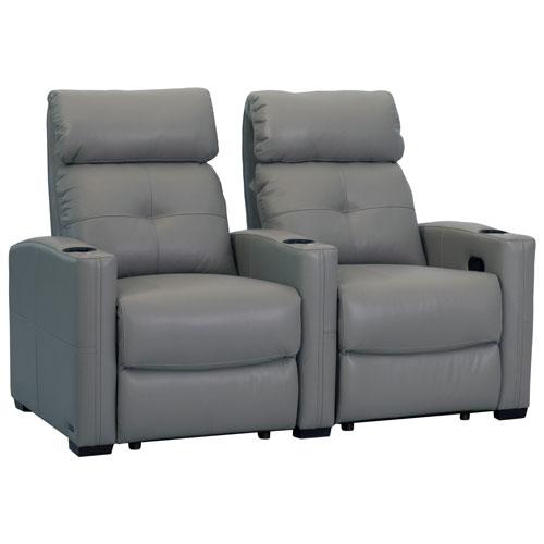 2 fauteuils inclinables en cuir cloud xs850 d 39 octane pour cin ma maison gris si ges de. Black Bedroom Furniture Sets. Home Design Ideas