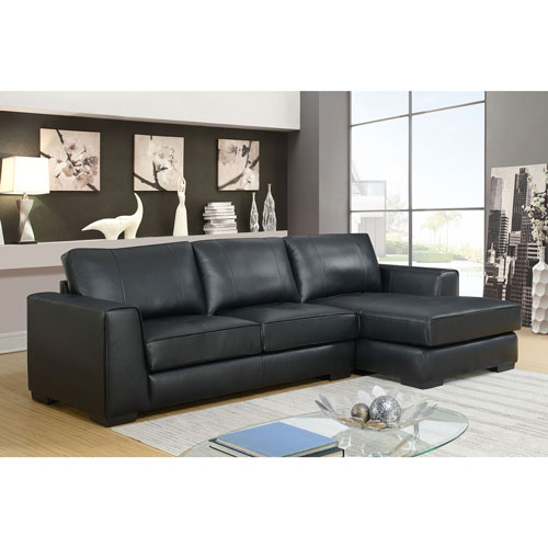 Groovy Concise Contemporary 2 Piece Genuine Leather Sectional Sofa With Right Facing Chaise Black Evergreenethics Interior Chair Design Evergreenethicsorg