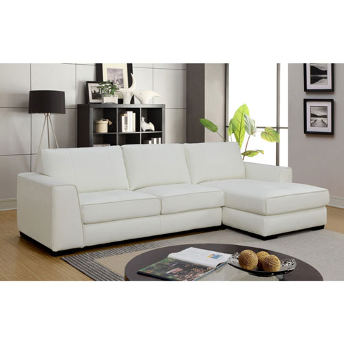 Concise Contemporary 2 Piece Genuine Leather Sectional Sofa With