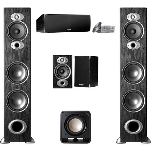 Polk Audio 300 Watt Tower Speakers With Bookshelf Speaker Subwoofer Centre Channel