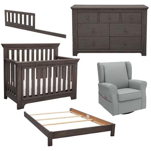 Delta Children Langley 5 Piece Dresser Crib Glider Bed Conversion Kit Guardrail Set