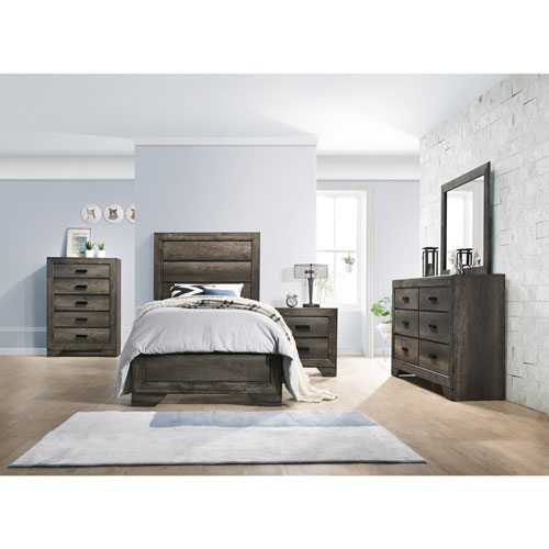 Grayson Rustic Country Panel Bed - Twin - Grey Oak : Beds & Bed ...