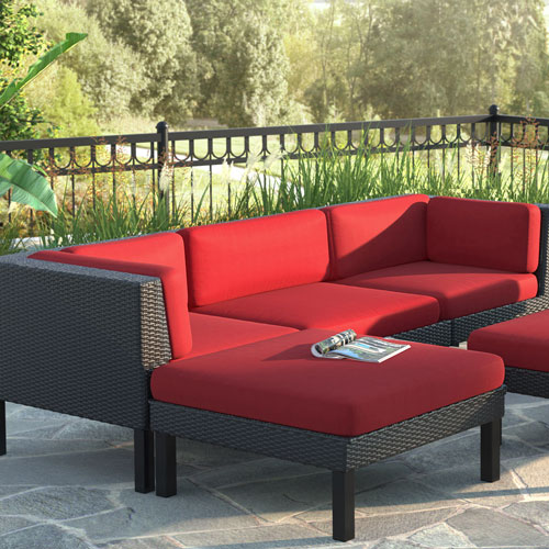 Oakland 4 Piece Patio Set   Textured Black Weave/Red   Online Only