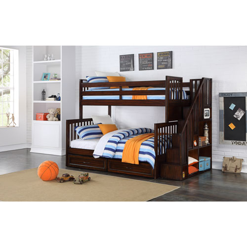 Zachary Kids Bunk Bed Twin Over Full With Storage Walnut Kids