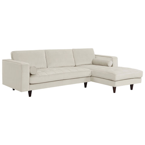 Yazmin 2 Piece Sectional Sofa With Right Facing Chaise   Cream