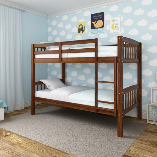 Dakota Contemporary Kids Bunk Bed Single Brown Kids Beds