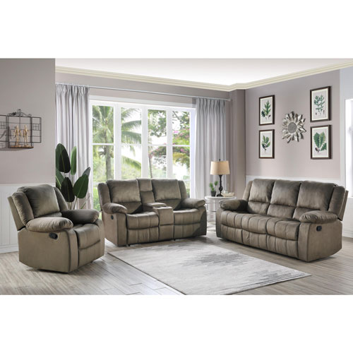 Jeffrey Contemporary 3-Piece Suede Reclining Loveseat