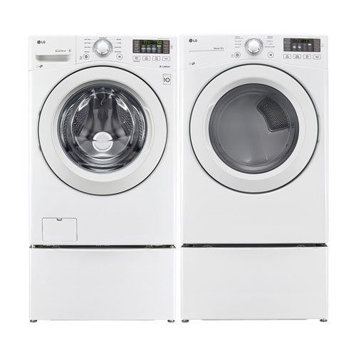LG 5.0 Cu. Ft. High Efficiency Front Load WM3080CW Washer & 7.4 Cu. Ft. DLE3180W Electric Dryer - White