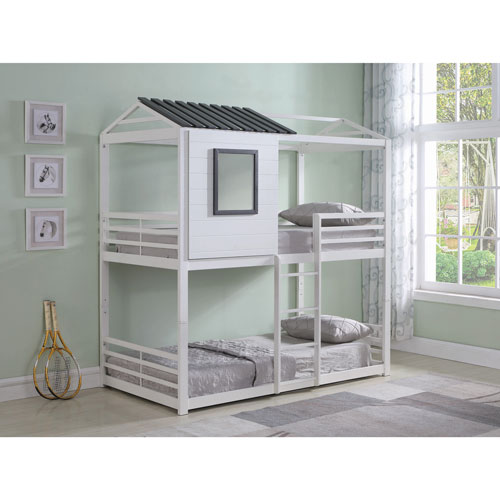 Coaster Transitional Kids House Bunk Bed Twin White Kids Beds