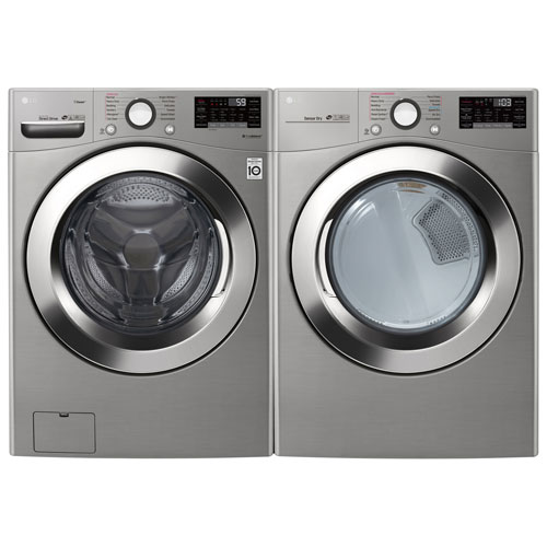 LG 5.2 Cu. Ft. Front Load Steam WM3700HVA Washer & 7.4 Cu. Ft. Electric Steam DLEX3700V Dryer - Graphite Steel
