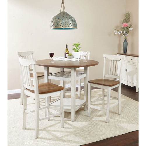 Berkley Traditional 5 Piece Dining Set White Wood Stain Best Buy Canada