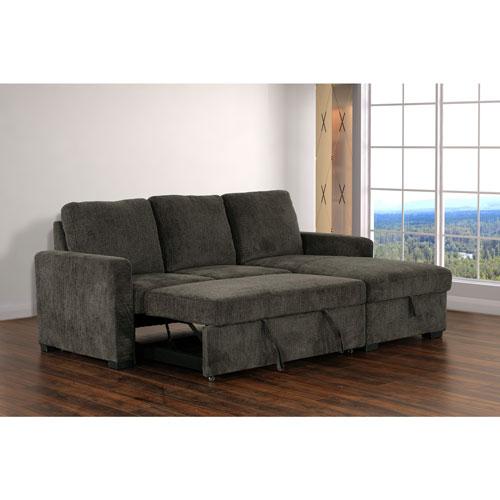 acheter pas cher 75492 da8b3 Sofa modulaire contemporain 2 pièces velours côtelé fauteuil droite Maddie  - Anthr - Exclusivité BBY