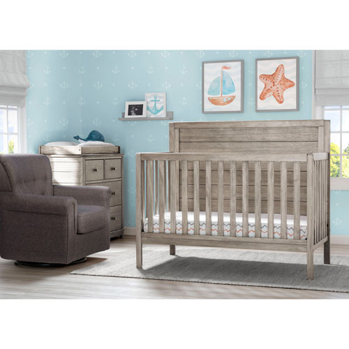 Lit convertible 4-en-1 Cambridge, commode et fauteuil coulissant Delta Children - Blanc/gris
