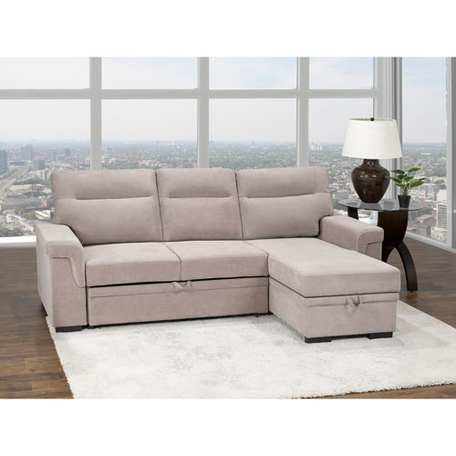 Almalfi Transitional 2-Piece Polyester Sectional Sofa Sleeper - Double -  Beige - Only at Best Buy