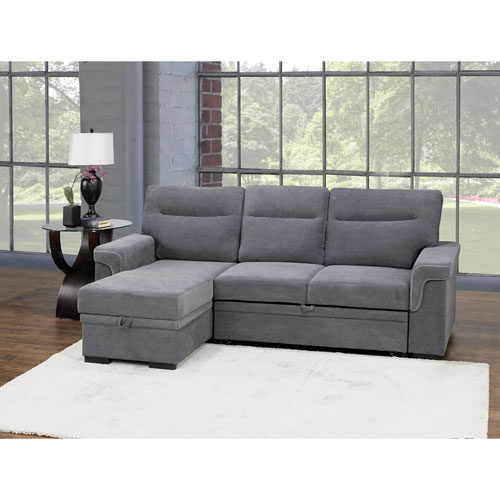 Almalfi Transitional 2 Piece Polyester Sectional Sofa With Pull Out
