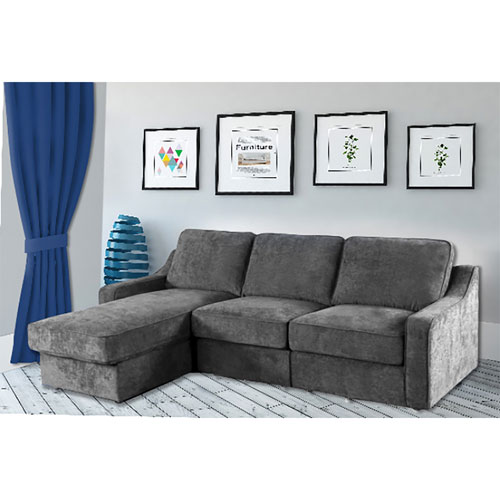 Modern 3-Piece Fabric Sectional Sofa with Reversible Chaise - Grey - Only  at Best Buy
