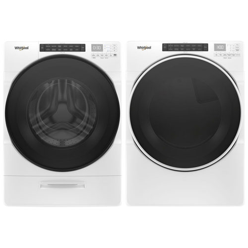 Whirlpool 5.2 Cu. Ft. HE Front Load Steam Washer & 7.4 Cu. Ft. Electric Steam Dryer - White
