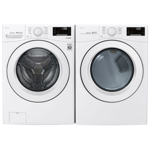Laveuse chargement frontal haute efficacité 5,2 pi³/sécheuse électrique 7,4 pi³ de LG - Blanc