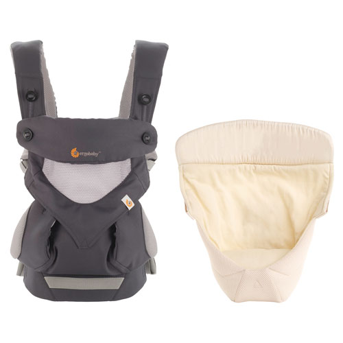 b268210645d Ergobaby 360 Four Position Baby Carrier with Easy Snug Carrier Insert - Cool  Air Carbon Grey   Baby Carriers - Best Buy Canada