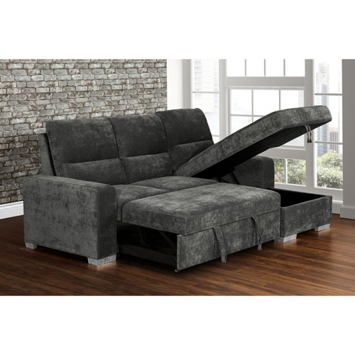 Teresina Contemporary 2-Piece Sectional Sofa with Pull-Out Sleeper &  Right-Facing Chaise - Charcoal