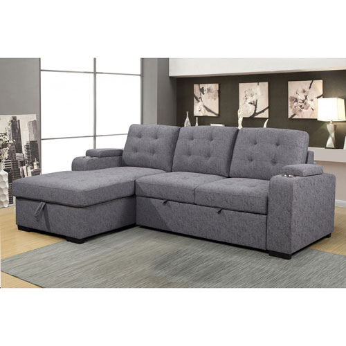 Phenomenal Pamina Contemporary 2 Piece Sectional Sofa With Pull Out Sleeper Left Facing Chaise Ash Squirreltailoven Fun Painted Chair Ideas Images Squirreltailovenorg