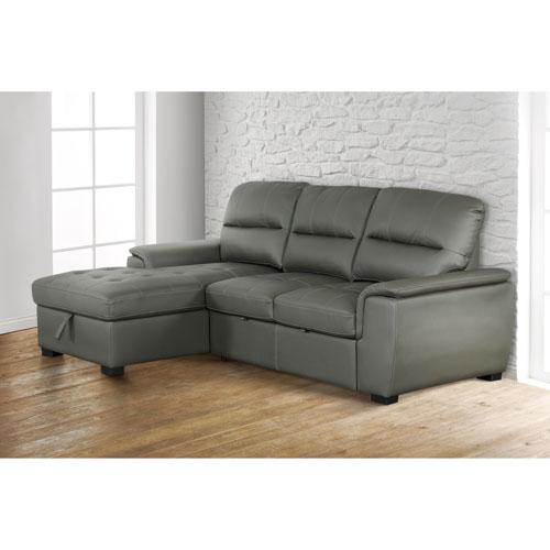 Sofa modulaire contemporain 2 pièces à lit escamotable et chaise à gauche Alana - Anthracite