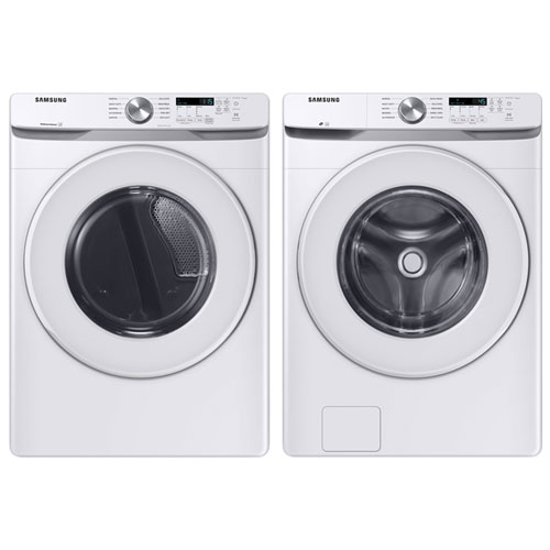 Samsung 5.2 Cu. Ft. High Efficiency Front Load Washer & 7.5 Cu. Ft. Electric Dryer - White