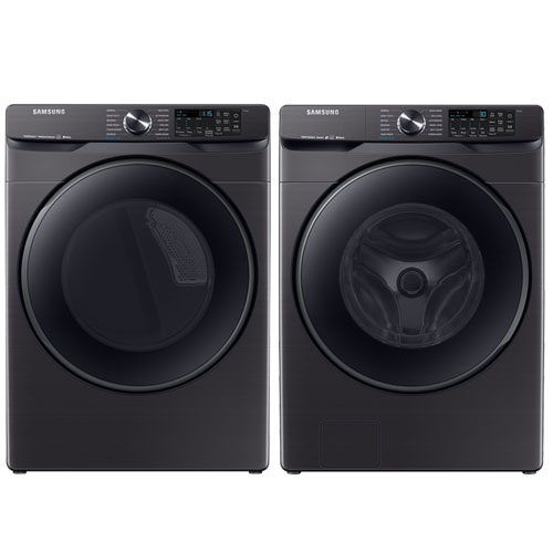 Laveuse vapeur à chargement frontal 5,8 pi³/sécheuse vapeur électrique 7,5 pi³ de Samsung-Inox noir