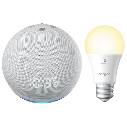 Echo Dot Amazon horl./ampoule DEL intel. Bluetooth Hue A19 Sengled - Blanc gl./Blanc doux