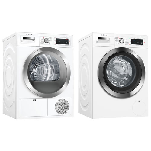 Bosch 800 2.2 Cu. Ft. HE Front Load Washer & 4.0 Cu. Ft. Electric Dryer - White
