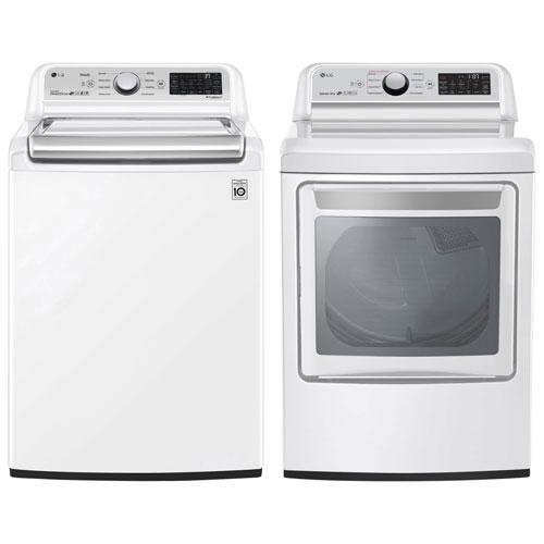 Laveuse à vapeur à chargement par le haut HE 5,6 pi³ et sécheuse électrique 7,3 pi³ de LG - Blanc