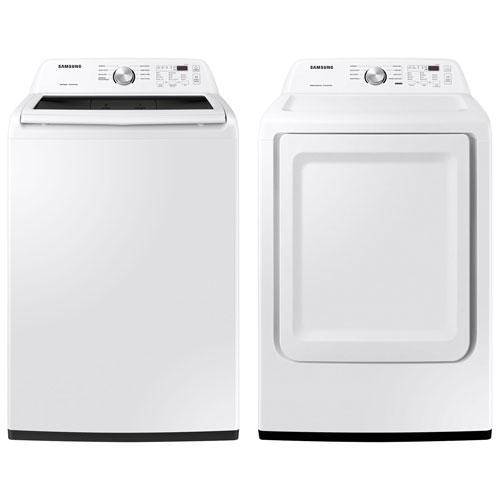 Laveuse haute efficacité à chargement par le haut 5,2 pi³/sécheuse électrique 7,2 pi³ Samsung-Blanc