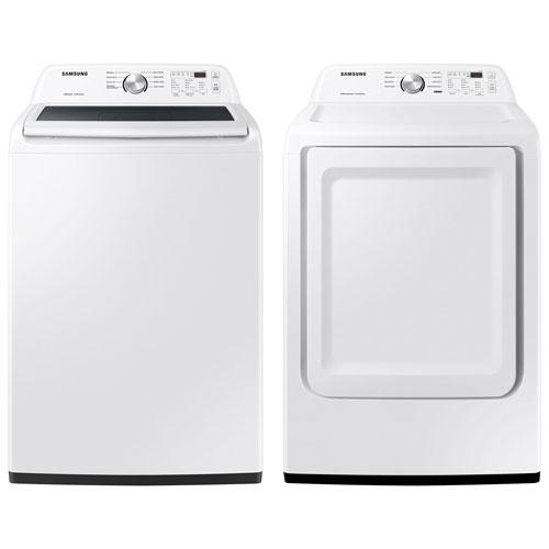 Laveuse à chargement par le haut de 5,0 pi³ et sécheuse électrique de 7,2 pi³ de Samsung - Blanc