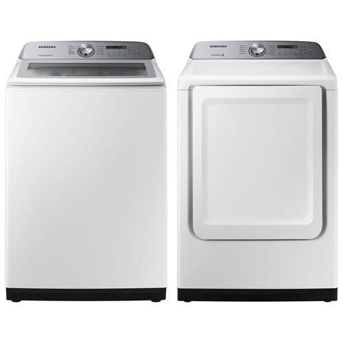 Laveuse à chargement par le haut HE de 5,8 pi³ et sécheuse électrique de 7,4 pi³ de Samsung - Blanc